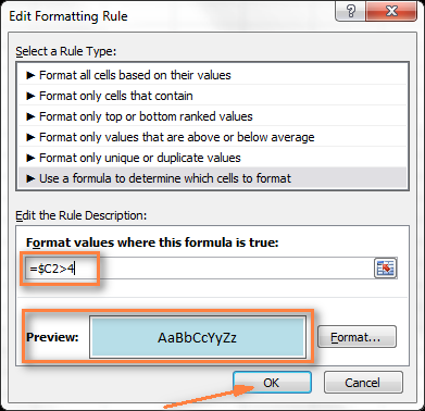 The preview of your formatting rule