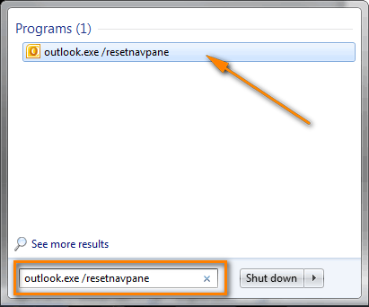 Use the outlook.exe /resetnavpane command to reset the Navigation Pane settings and restart Outlook.