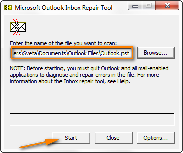 Click the Start button to start scanning your PST file for errors.
