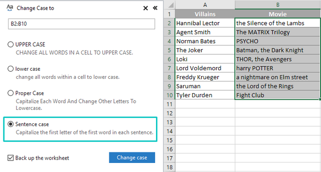 Sentence case option to capitalize first characters in cells