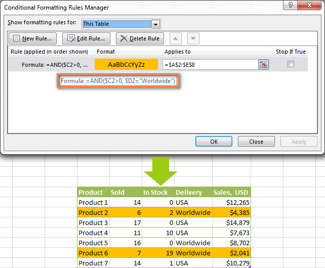 Excel conditional formatting rule with the =AND formula.
