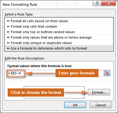 Enter the formula and click the Format... button to choose your custom format.