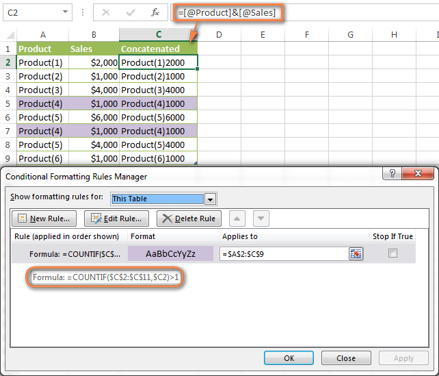 how to get the duplicate checker in excel to work