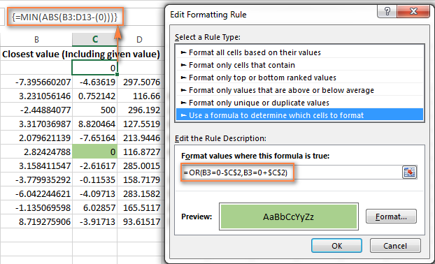 Highlight the closest value to a given number, including that number