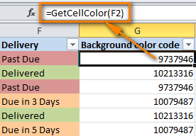The formula to get the color code