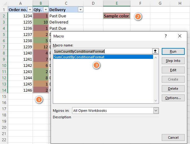 Running a macro to count and sum cells colored using conditional formatting