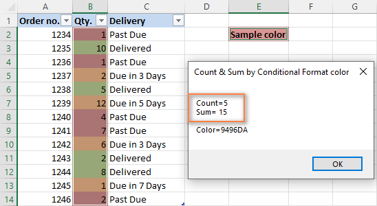 The count, sum and color code of cells colored with conditional formatting