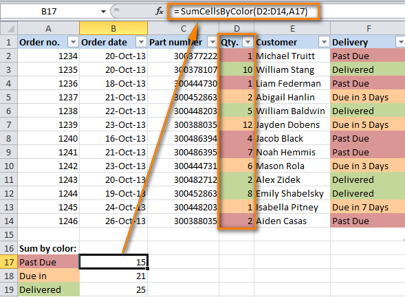 How to count by color and sum by color in Excel 2010 and 2013