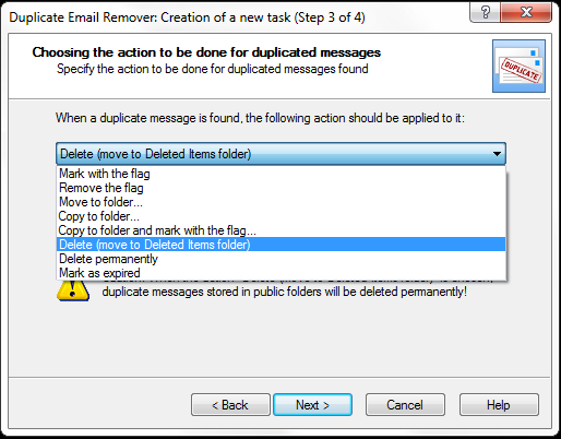 Choose the action to perform with duplicate emails.