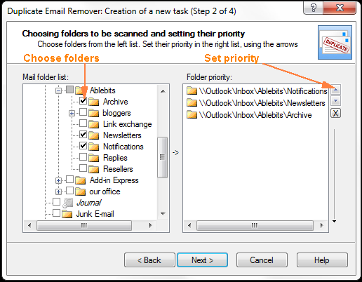 Choose the folders to look for duplicates and set the priority.