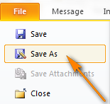 To save an email template, switch to the File tab and click the Save as button.