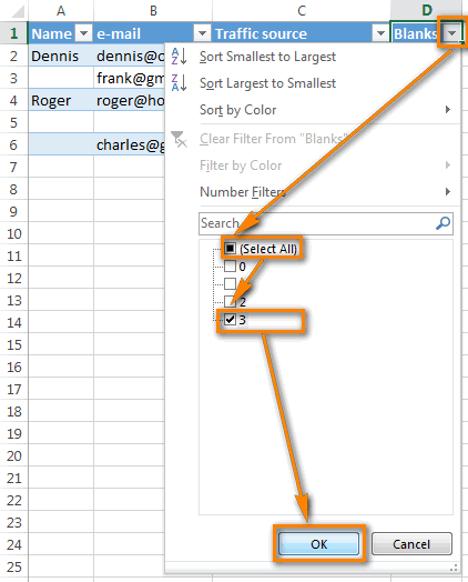4 Then Select All The Filtered Rows And Remove Whole Rows