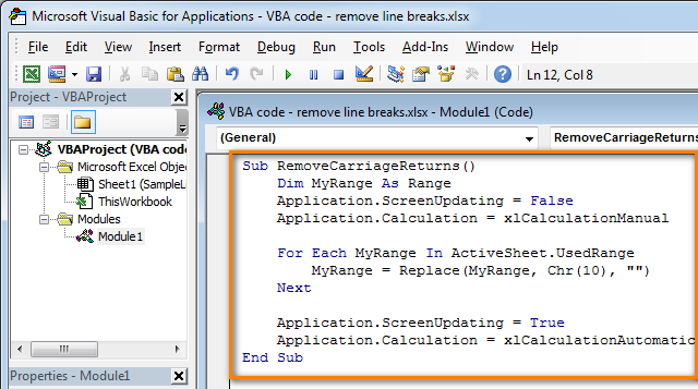 Paste the code to the VBA module