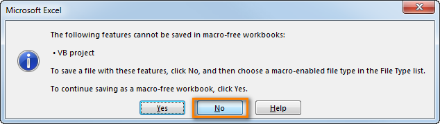 The following features cannot be saved in macro-free workbook