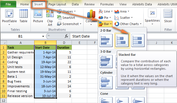... charts group and click bar under the 2 d bar section click stacked bar