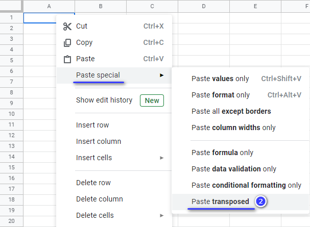 Paste and transpose the copied data at once.