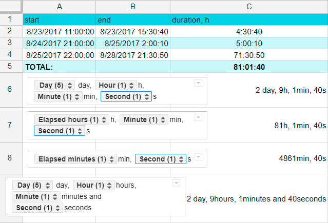 Create various custom date and time formats