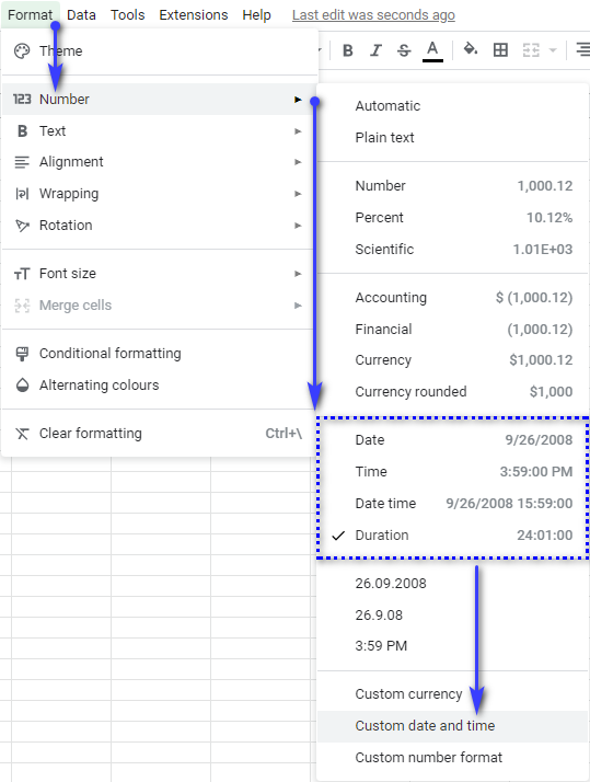 Choose the existent date and time format or create a custom one in Google Sheets