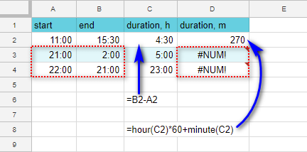 Calculate duration in hours