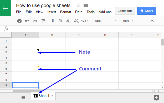 Comments and notes in Google Sheets