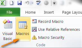 Click on the Marcos icon on the Developer tab