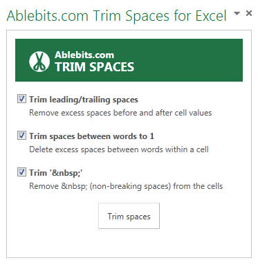 Find Trim Spaces in Excel 2013