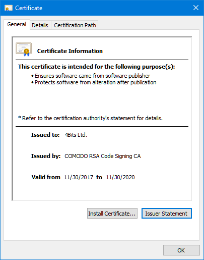 General information about the certificate