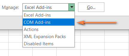 Open the COM Add-ins dialog from the Manage menu