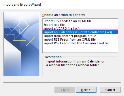 Import an iCalendar or vCalendar file to Outlook.