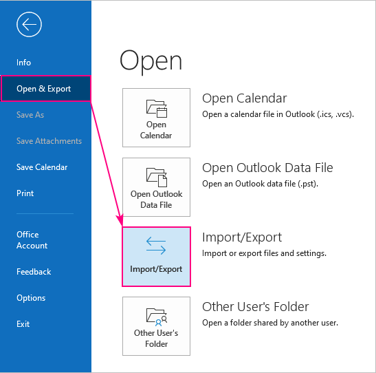 Import and Export in Outlook