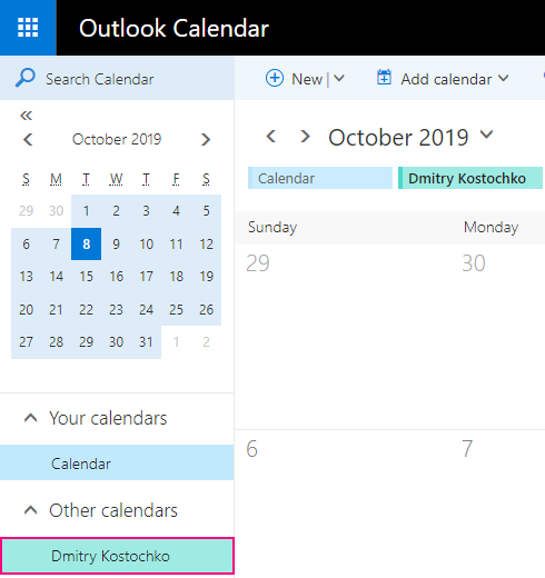The shared calendar is added to Outlook.com.