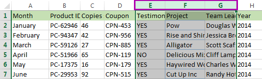 Highlight several columns by selecting the column buttons