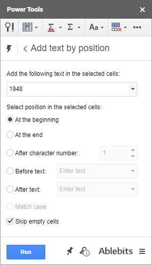 Add text at the beginning of cells.