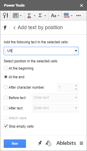 Use Power Tools to add text by position in Google Sheets.