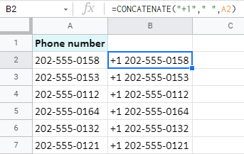 Use the CONCATENATE function to insert text at the beginning of Google Sheets cells.