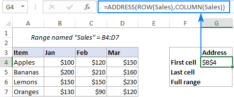 Formula to get the address of the first cell in a named range