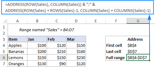 Formula to get the address of a named range as an absolute reference