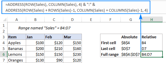 Formula to return the address of a named range as a relative reference