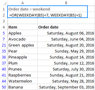 Filtering weekends in Excel
