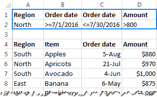 Setting up the criteria range for dates and numbers