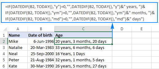 An improved formula to calculate age from DOB in years, months and days