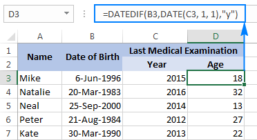 Calculating age as of January 1 of a particular year