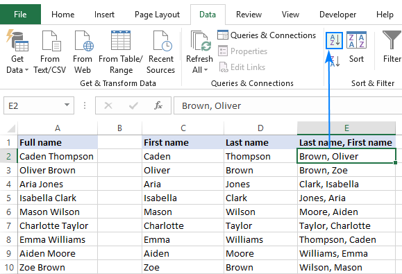 A list alphabetized by the last name in Excel