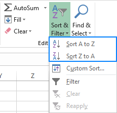 Another way to get to the Sort buttons in Excel