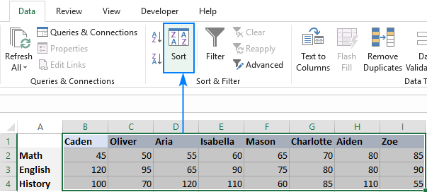 Sorting rows alphabetically in Excel