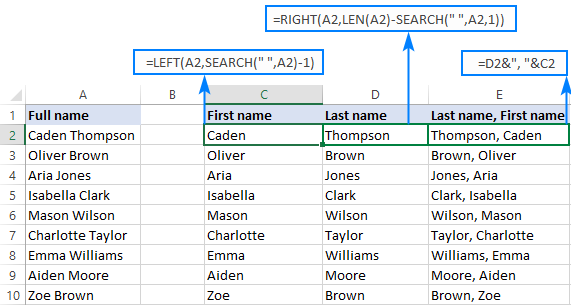 Formulas to extract the first and last names in Excel