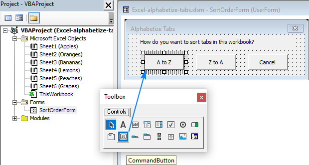 Create a UserForm to alphabetize Excel tabs ascending or descending.