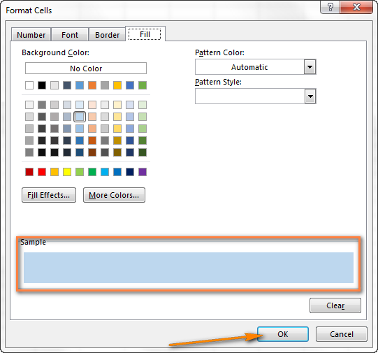 Select the fill color that you want to use for the banded rows.