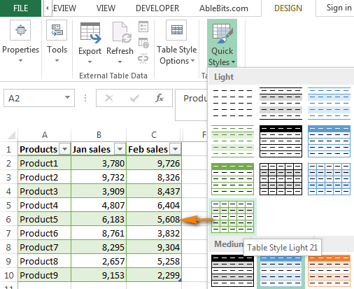 Excel Table Styles Gallery