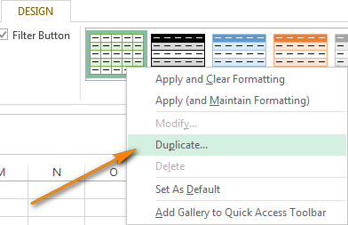Right click on the table style you want to apply and choose Duplicate.